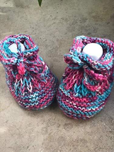 Babyschuhe gestrickt Schühchen Flower-girl booties gestrickt Baby Mädchen Krabbelschuhe Strickschuhe Schuhe Puschen Größe 19 11 cm Baby Girl Bootie