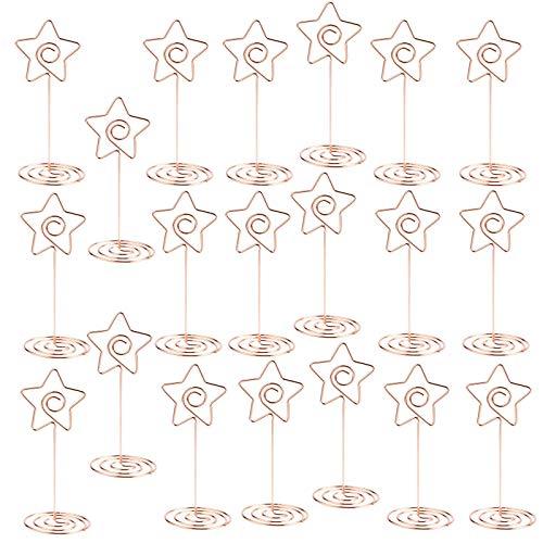 Flowow 20pz pinze pinzette segnaposto con base in metallo forma di stella come supporto memo foto clip portafoto fai da te per segnaposto bomboniera matrimonio oro rosa