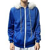 IMJONO Männer Frauen Cosplay Blaue Fleece Kapuzenjacke Pullover Kostüm warmen Sport Mantel (EU-50/CN-XL,Blau)