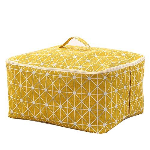 Dontdo Aufbewahrung Tasche mit Reißverschluss Langlebig Kleidung Quilt Kissen Decke Fall Container Organizer, Baumwoll-Leinen, gelb, Einheitsgröße (Tasche Quilt)