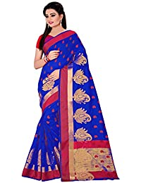 ROYAL EXPORT Women's Cotton Silk Saree With Blouse Piece (Jydp Blue Kamal ,Blue Free Size)