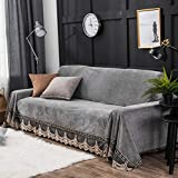 AFAHXX Samt Spitzen Sofa Überwürfe,Bohème Volltonfarbe Anti-rutsch Dekoration Sofabezug für Sofa Dünn Sofahusse sofaüberwurf Sofa Abdeckung-Grau 200x350cm(79x138inch)