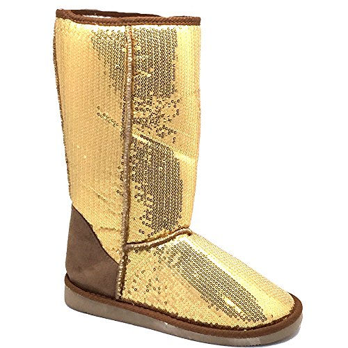 Pailletten Stiefel Gold 36 - 41 Damen & Herren Designer Schuh (Stiefel Pailletten Gold)