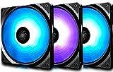 DeepCool RF120 Ventole RGB 120mm, PWM Ventola Silenzioso ad Alte Prestazioni (3 in 1), Controllabile da Software della Scheda Madre o Controller, 12V 4pin RGB (3P Set)