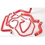 Autobahn88 Silicona refrigerante del radiador y del calentador de la manguera Kit Para 2003-2012 Mazda RX8 SE3P 13B MSP -Rojo -Con kit de abrazaderas