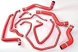 Autobahn88 Kühler Kühlmittel & Heizung Silikon Schlauch Kit, modell ASHK147-RD-WC (Rot - mit Klammer-Set)