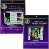 ‏‪Bundle: 1 Creepy Green Monster Door Cover and 2 Evil Goblins Window Covers Scary Haunted House Set of Halloween Decorations‬‏