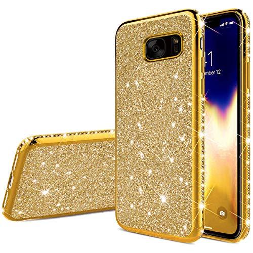 Ukayfe Compatibile con Samsung Galaxy S7 Edge Custodia,Placcatura TPU Glitter Brillantini Strass Diamante Ultra Sottile Morbida TPU Silicone Bumper Case per Galaxy S7 Edge-d'oro
