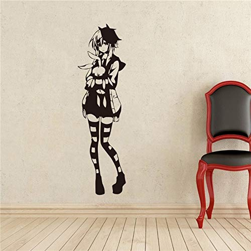 guijiumai Creative Bricolage Mignonne Anime Fille Bas Sticker Vinyle Autocollant Decal Décoration de La Maison Stickers Muraux Noir 60 x 200 cm