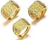 Halukakah 'GOLD SEGEN ALLE' Männlich 18K Gold überzogen KANJI Ring 'Reich+Glück+Reichtum' Set Größe verstellbar mit KOSTENLOSER Geschenkpackung