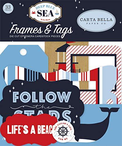 Carta Bella Paper Company CBDB102025 Bilderrahmen und Etiketten, Tiefblau mit Meeresmotiv, Rot/Marineblau/Weiß