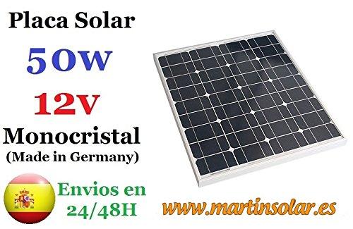 Panel solar fotovoltaico monocristalino de 50W rígido con marco de aluminio y cubierta de vidrio templado idóneo para sistemas solares autonomos de 12V DC Especificaciones Generales: - Tipo de celdas: 36 monocristalina seccionada y encapsuladas en EV...