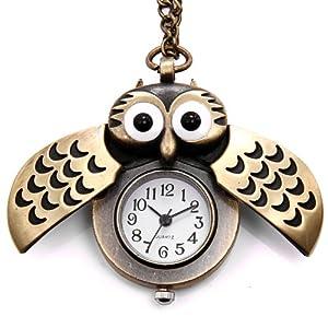 JewelryWe Niedlich Eule Taschenuhr Analog Quarz Kettenuhr Uhr Anhänger Halskette Kette Bronze