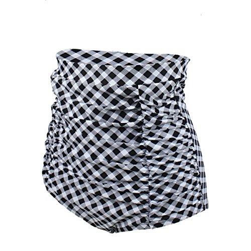 Gigileer Damen Elegante / Figurumspielende / Minimizer Bikini Hose / High Waist Bikinihose / Slip Weiss Karomuster