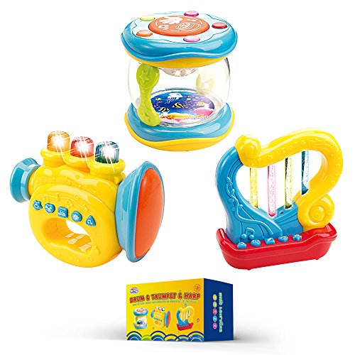 Musical Instruments for Babies. Set of 3 Trumpet, Drum, Harp Music Toys with Batteries Included.