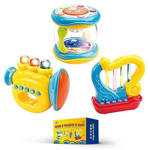 Musikinstrumente für Babies und Kleinkinder. Set von 3 Spielzeugen: Trompete, Trommel und Harfe. Batterien Inklusive. Musik-instrument-gitarre