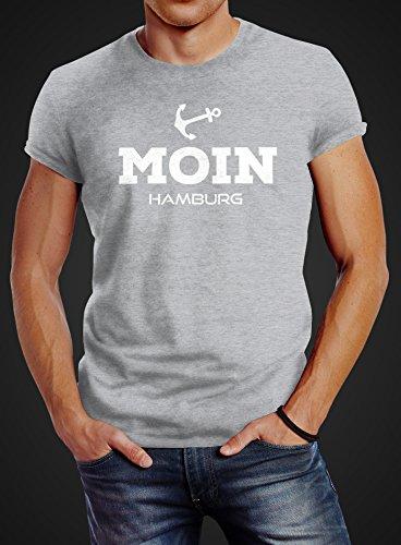 Herren T-Shirt Moin Hamburg Anker Slim Fit Neverless® Moin Hamburg grau