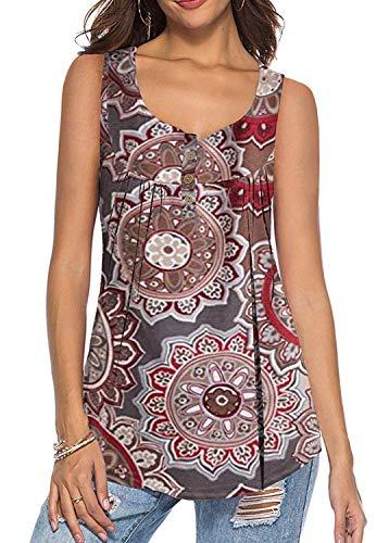 KISSMODA Große Größen Hemden Bluse Tunika Tops Frauen Tee Vneck Buttons Brown XXL - 3-button-top