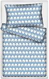 Kinderbettwäsche Elefanten 2-tlg. 100% Baumwolle 40x60 + 100x135 cm mit Reißverschluss
