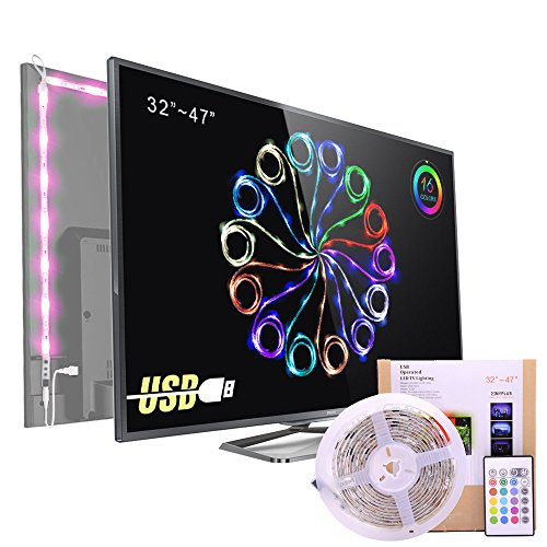 Pangton Villa LED TV backlight 4-Pack USB light strip with Remote Control, for 32 ``-47`` TV / flat screen / wall mount Cinema Decoration (Reduce eye fatigue and increase image clarity),Pangton villa (TM)