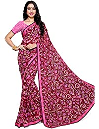 Alveera Latest Collection Digital Printed Laced Border Georgette Free Size Saree With Blouse - Wine