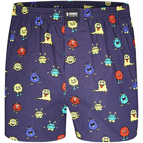 Happy Shorts Boxershorts Herren/Web-Boxer mit Jersey-Inlay – Modell: Monsters M