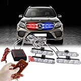 Sidaqi 4x4LED 4 in 1 telecomando senza fili 12V emergenza strobo spia luce lampeggiante per auto camion DRL luce polizia ambulanza (2 luce rosso, 2 luce blu)