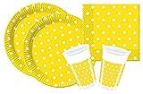 Procos 10105480 Partyset Yellow Dots, Größe S