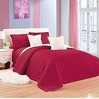 طقم لحاف مفرش سرير مضغوط وجهين لونين 6 قطع من موون، مقاس كينغ