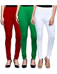 Mek-Orange Women's Cotton Churidar Legging - Pack Of 3