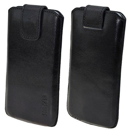 Original Suncase Tasche für / Samsung Galaxy S5 mini (SM-G800F) / Leder Etui Handytasche Ledertasche Schutzhülle Case *Lasche mit Rückzugfunktion* Hülle / schwarz