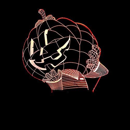 3D Nachtlicht 3D Kürbis Mann Led Nachtlicht Kürbis Hut Tischlampe 7 Farben Ambiente Schlaf Lichter Baby Halloween Party Nacht Geschenk Dekoration