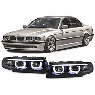 Carparts-Online 29739 Klarglas LED Angel Eyes Scheinwerfer schwarz mit Motor