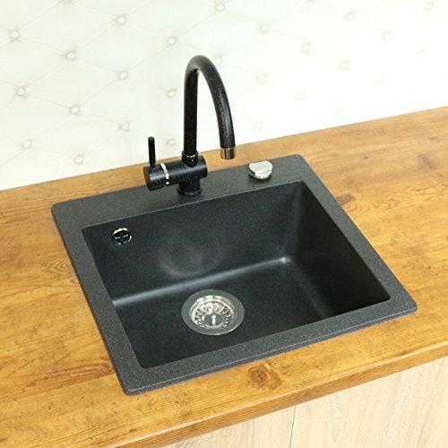 Lavello da incasso in granito, 46 x 49 cm, per cucina, beige/nero ...