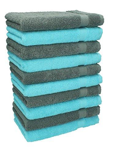Betz Lot de 10 serviettes débarbouillettes lavettes taille 30x30 cm en 100% coton Premium couleur gris anthracite et bleu turquoise