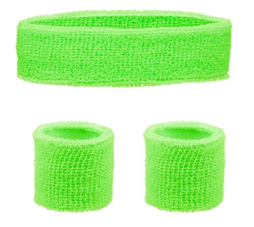 80s Workout Sweatbands Set - Headband and Wristbands - many colours