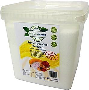 HNK Stevia Streusüße Granulat mit Erythrit, 1er BOX 4,5 Kg | 100Pr...