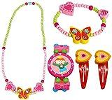 BINO 5 TLG. Set Holzschmuck Mädchen Motiv Schmetterling Gelb - Halskette Armband Armbanduhr 2 Haarspangen
