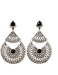 IGP Intricate Cut Work Design Oxidized Silver Black Stone Embellished Fashion Earrings For Women And Girls