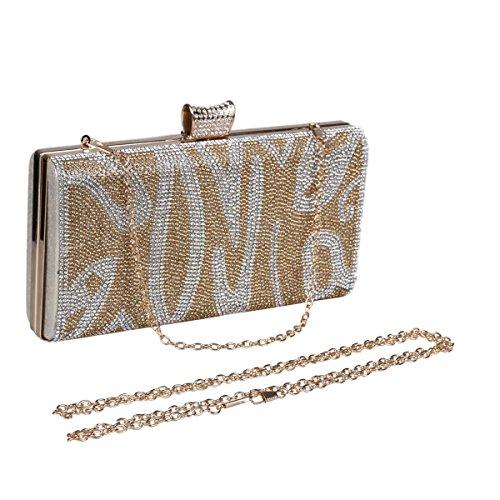 Damara® Strassstein Damen Auffällig Hartschalen Clutch Handtasche Gold