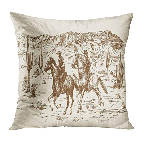 (nnmaw Throw Pillow Cover Ranch American Wild West Desert with Cowboys Hand Drawn Sketch Western Decorative Pillow Case Home Decor Square 18