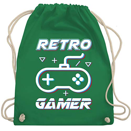 Nerds & Geeks - Retro Gamer Gamepad Controller Glitch - Unisize - Grün - WM110 - Turnbeutel & Gym Bag -