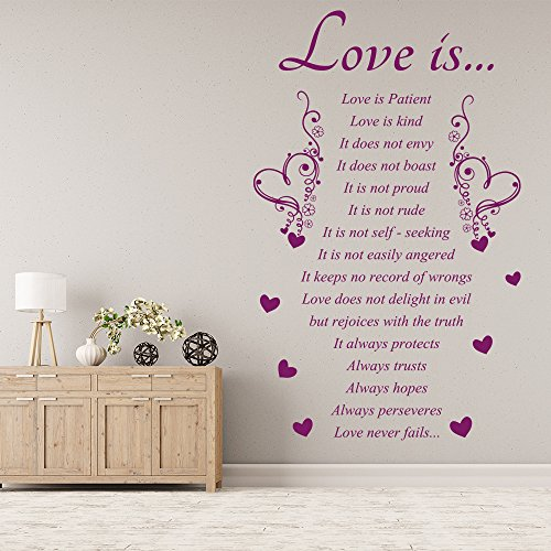 Lamore è cuore Embelishment Inspirational Wall Stickers Home Decor Art Stickers disponibile in 5 dimensioni e 25 colori Piccolo Bianco - Inspirational Cuore