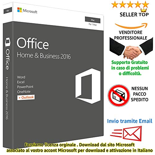 MlCROSOFT OFFICE 2016 HOME & BUSINESS - MAC : Multilanguage: Italiano - English - Français- Español - Deutsch - ( LICENZA ELETTRONICA - ELECTRONIC LICENSE) - ESD License