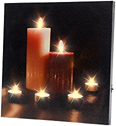 infactory LED Bild: LED-Leinwandbild mit romantischem Kerzenflackern Modern Times (LED Bild Kerzen)