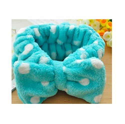 en Rosa Herz Bowknot Bogen Make-up kosmetische Dusche elastische Haar Band Hairlace Stirnband, blauer Punkt ()