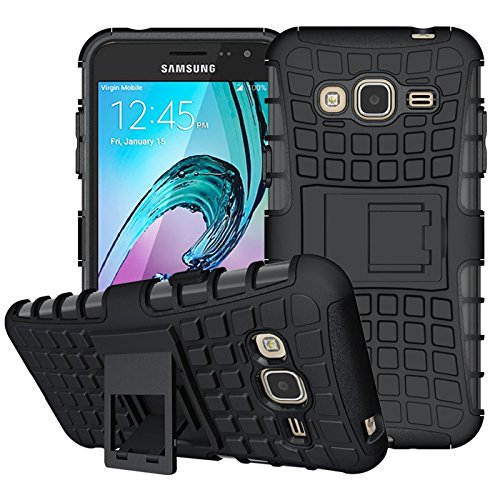 Conie Outdoor Hülle kompatibel mit Samsung Galaxy J1 2016, verstärkte Schutzhülle rutschfest wasserabweisend Kantenschutz Rückschale Case in Schwarz