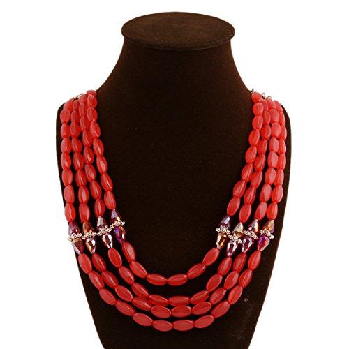 Femme Résine Collier Mode Multi-couche De Perles De La Chaîne De La Clavicule red