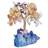 mookaitedecor Árbol de la vida con piedra de cristal curativa y base de clúster, decoración de la riqueza de buena suerte, Multicolor & Titanium Coated Blue