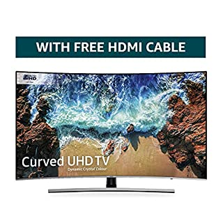 Samsung 55NU8500 55-Inch Curved Dynamic Crystal Colour Ultra HD Smart 4K TV - Slate Black/Eclipse Silver (2018 Model) + FREE Amazon High-Speed 0.9M HDMI 2.0 cable (B07KMF2PHV) | Amazon price tracker / tracking, Amazon price history charts, Amazon price watches, Amazon price drop alerts